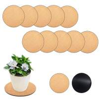 """10pcs 8"""" Round Cork Plant Mat Plastic Plate Coasters for Courtyard DIY Craft Project"""