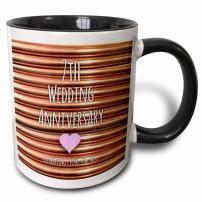 3dRose 154436_4 7Th Wedding Anniversary Gift Mug, 11 oz, Black