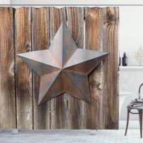"""Ambesonne Primitive Country Shower Curtain, Antique Rusty Star on The Weathered Wooden Planks Vintage Retro Image, Cloth Fabric Bathroom Decor Set with Hooks, 70"""" Long, Brown"""
