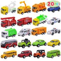 JOYIN 20 Piece Pull Back Die Cast Metal Toy Car Model Vehicle Set for Toddlers, Girls and Boys Kids Play Car Set