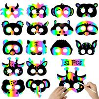 WATINC 32Pcs Scratch Paper Animal Masks, DIY Rainbow Color Mask for Magic Scratch Party Favors, Birthday Gifts Pack for Children, DIY Art Craft Kit for Kids, 16 Styles with Elastic Bands &Wood Stylus