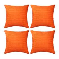 """Set of 4,Decorative Throw Pillow Covers 16"""" x 16"""" (No Insert),Solid Cozy Corduroy Corn Accent Square Pillow Case Sham,Soft Velvet Cushion Cover with Hidden Zipper for Couch/Sofa/Bedroom,Neon Orange"""