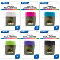 BAZIC Magnetic Paper Clips Holder w/No.1 Color Paper Clip (Box of 24)