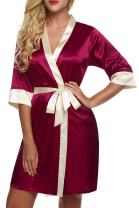 Ekouaer Women's Kimono Robe 2/1 Sleeved Nightgown Robe Silk Robe Party Gown Short Pure Color Bathrobe V-Neck Sleepwear.
