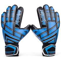 Malker Soccer Goalie Gloves Goalkeeper Gloves with Fingersave and Double Wrist Protection, Strong Grip Goalkeeper Gloves for Kids, Youth, Adults