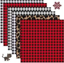 "Christmas Buffalo Plaid HTV Iron on Vinyl - 6 Sheets 12"" x 12""Red Black Buffalo Check Heat Transfer Vinyl-3 Assorted Colors for DIY Iron on Fabrics T-Shirts(Buffalo Plaid,Black Plaid,Leopard Print )"