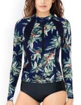 Septangle Women's Long Sleeves Half Zip Swimsuit Rashguard UV Sun Protects Athletic Swimwear