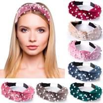 SIQUK 7 Pcs Top Knot Headband with Peals Velvet Wide Headbands Artificial Pearl Knot Turban Headband for Women and Girls