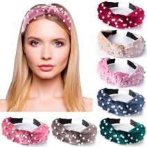 SIQUK 7 Pcs Top Knot Headband with Peals Velvet Wide Headbands Artificial Pearl Knot Turban Headband for Women and Girls