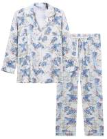 Cherrydew Womens Soft Bamboo Pajama Set Button Down Long Sleeve Pj Pants Sets