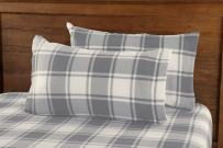 Great Bay Home Super Soft Extra Plush Plaid Fleece Sheet Set. Cozy, Warm, Durable, Smooth, Breathable Winter Sheets with Plaid Pattern. Dara Collection Brand. (King, Grey)