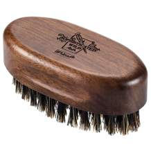 BFWood Small Travel Beard Brush - Natural Boar Bristles with Black Walnut Wood