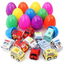 Easter Eggs, LANIAKEA 12 PCS Toys Filled Easter Eggs Filled with Pull-Back Construction Vehicles, Easter Theme Party Favor for Boys Girls, Best Present for Kids