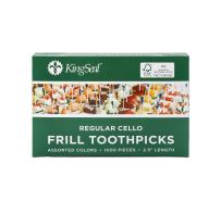 "KingSeal FSC Certified Sustainably Sourced Natural Birch Sandwich Frill Picks, Assorted Color - 2.5"" length, 10 packs of 1000 per Case, for Appetizers and Cocktails"