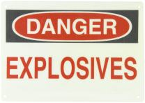 "Brady 75639 14"" Width x 10"" Height B-120 Premium Fiberglass, Black and Red on White Chemical and Hazardous Materials Sign, Header ""Danger"", Legend ""Explosives"""