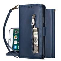 Harsel Stand Feature [Magnetic Closure] Leather Zipper Wallet Purse Folio Folding Flip Durable Protective Cover Case with Credit Card Holder Strap for iPhone 6s for Women (Navy Blue)