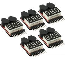 CAMWAY 5PCS 2in1 1-8s Lipo Battery Voltage Tester,RC Low Voltage Buzzer Alarm,Battery Monitor Checker Tester for 1-8s Lipo/Li-ion/LiMn/Li-Fe