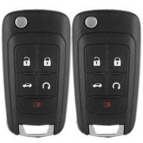 ECCPP 2X Replacement fit for Uncut Keyless Entry Remote Key Fob Shell Case GMC Terrain/Buick Allure LaCrosse Regal Verano Encore/Chevrolet Camaro Cruze Malibu Equinox Sonic Impala OHT01060512