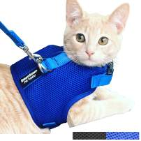 Downtown Pet Supply Cat Vest Harness and Leash Combo with Added Safety Features to Make it Escape Proof for Small, Medium, Large Cats and Small Dogs/Puppy (Available in Blue and Black)