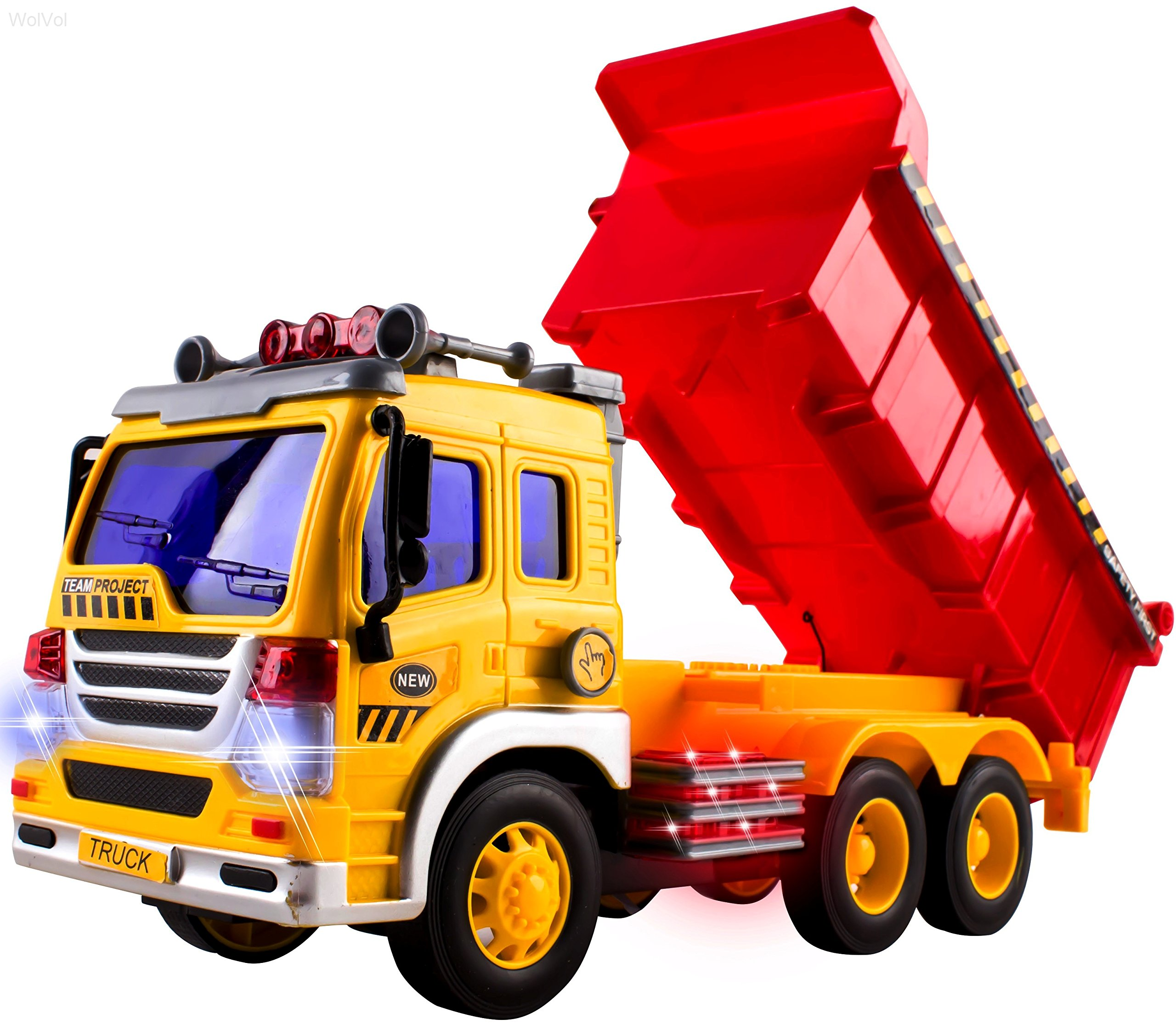WolVol Friction Powered Dump Truck Toy - Premium Quality Plastic Heavy Equipment Vehicle Toy Battery Operated with Lights & Sounds - Fun Gift for All Occasions for Kids Boys Girls
