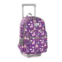 Rolling Backpack 18 inch Double Handle Wheeled Laptop Boys Girls Travel School Children Luggage Toddler Trip