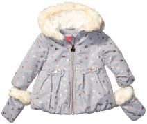 LONDON FOG Girls' Matte Shimmer Satin Faux Fur Bottom and Hood Jacket