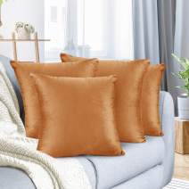 """Nestl Bedding Throw Pillow Cover 16"""" x 16"""" Soft Square Decorative Throw Pillow Covers Cozy Velvet Cushion Case for Sofa Couch Bedroom, Set of 4, Rust Orange Brown"""