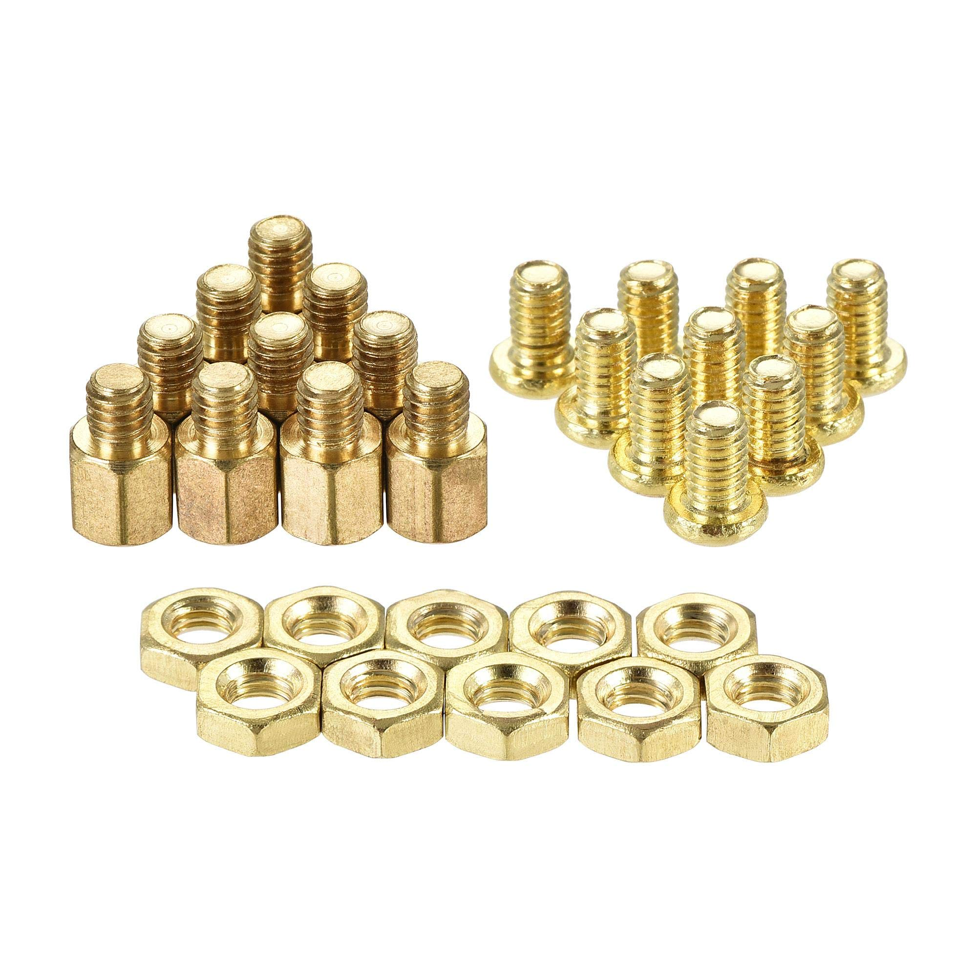 uxcell M4 Hex Brass Standoff Spacer 6mm+4mm Male-Female Threaded Pillar Screw Nut Kit for PCB Motherboard Computer Circuit Board, 20 Sets
