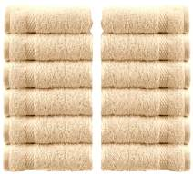 White Classic Luxury Cotton Washcloths - Large Hotel Spa Bathroom Face Towel | 12 Pack | Beige