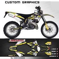 Kungfu Graphics Custom Decal Kit for GasGas EC 125 200 250 300 2002 2003 2004, Black White Yellow, GSEC0206002
