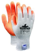 Memphis Glove 9672HVOXS Nylon/Spandex Dyneema Shell Gloves with High Vis Latex Crinkle Palm, Orange, X-Small, 1-Pair