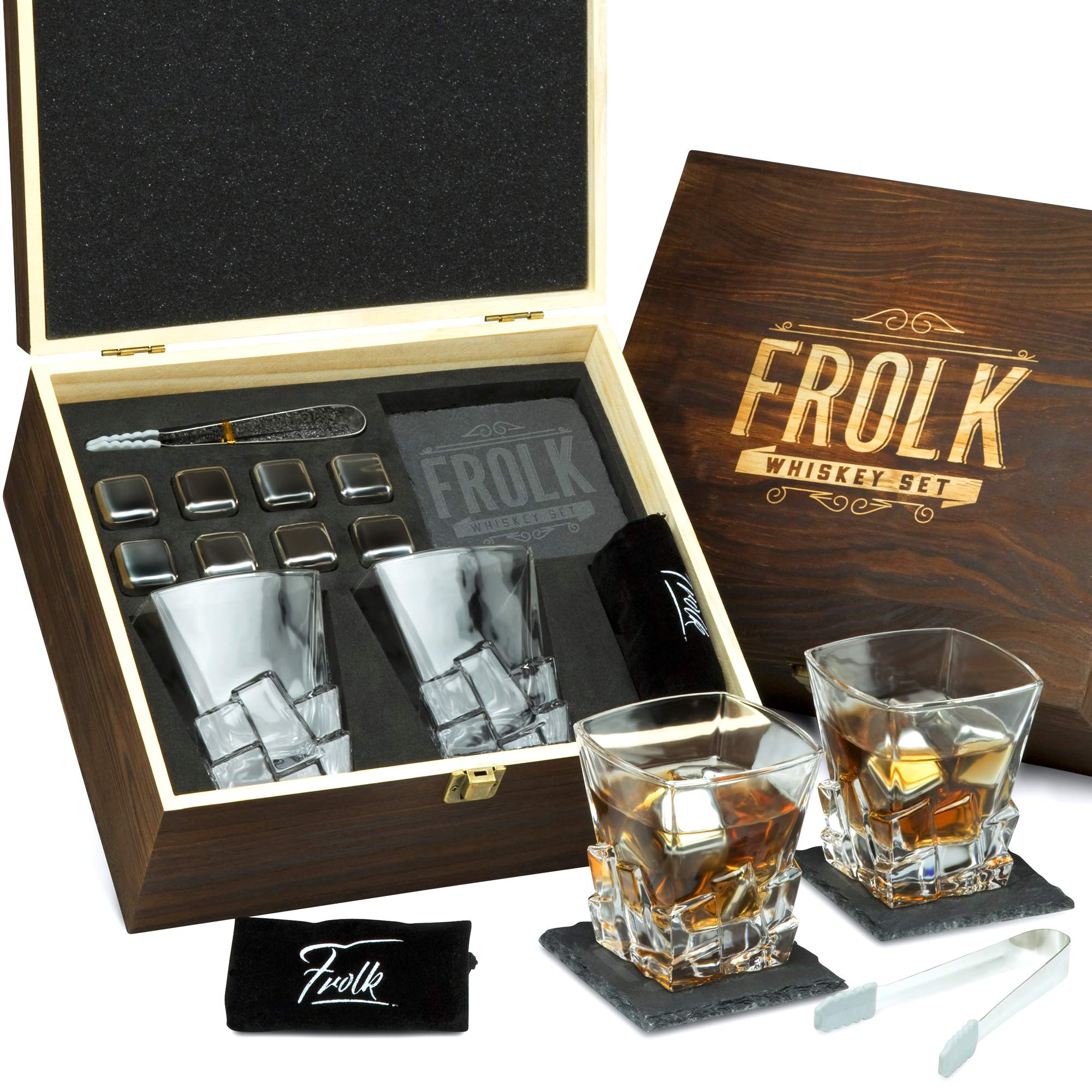 Whiskey Stones Gift Set for Men - 8 Chilling Stainless-Steel Whiskey Cubes, 2 Large Classic Glasses 11oz, Slate Stone Coasters, Velvet Storage Pouch, Silicone-Tipped Tongs in a Real Pinewood Box