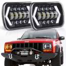"7x6"" inch Halo LED Headlights, OVOTOR 5x7 inch Square LED Headlamp with Arrow Angel Eyes DRL Turn Signal Light Replaces H6054 H5054 H6054LL 69822 Fit Trucks Wrangler XJ YJ Sedans GMC"