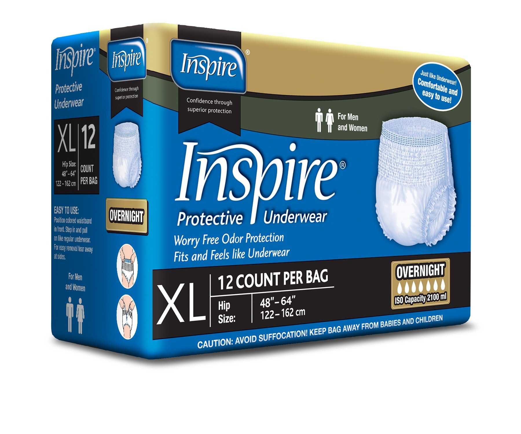 Inspire Overnight Adult Diaper Incontinence Underwear, Extra Large, 48 Count