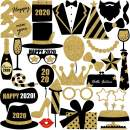 New Year's Photo Booth Props Kit(30Pcs)- 2020 New Year Eve Photo Props Creative Selfie Props Celebration Party Favor for New Year Eve Party Decoration (Gold2)