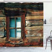 """Ambesonne Scenery Shower Curtain, Single Window with White Curtain on a Wooden Background Lumberjack House Photo, Cloth Fabric Bathroom Decor Set with Hooks, 70"""" Long, Brown and Blue"""