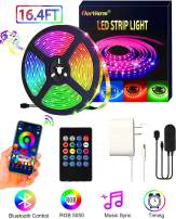OurWarm LED Strip Lights,16.4ft SMD 5050 RGB LED Light Strip Kit Bluetooth APP Control LED Color Changing Lights with IR Remote Sync to Music Apply for TV, Bedroom, Party, Home, DIY Decoration
