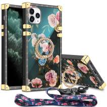 Aemotoy for iPhone 11 Pro Max Case Floral Cute with Ring Holder Grip Lanyard Girly Square Reinforced Corners Protective Shell Flexible TPU Shockproof Cover for 6.5 inch iPhone 11 Pro Max Peony