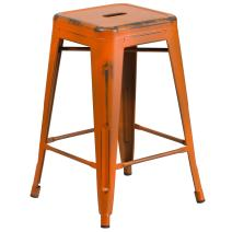 Flash Furniture 24'' High Backless Distressed Orange Metal Indoor-Outdoor Counter Height Stool