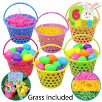 """6 Pieces 8"""" Easter Egg Baskets with Handle and 55 g Tricolors Easter Grass for Easter Theme Garden Party Favors, Easter Eggs Hunt, Easter Goodies Goody, Basket Fillers Stuffers by Joyin Toy."""