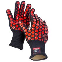 JH H01301 Heat Resistant Oven Gloves:EN407 Certified Withstand 932 °F, Double Layers Silicone Coating, BBQ Gloves & Oven Mitts For Cooking, Kitchen, Baking, Fireplace, Grilling, 1 Pair, Standard Cuff