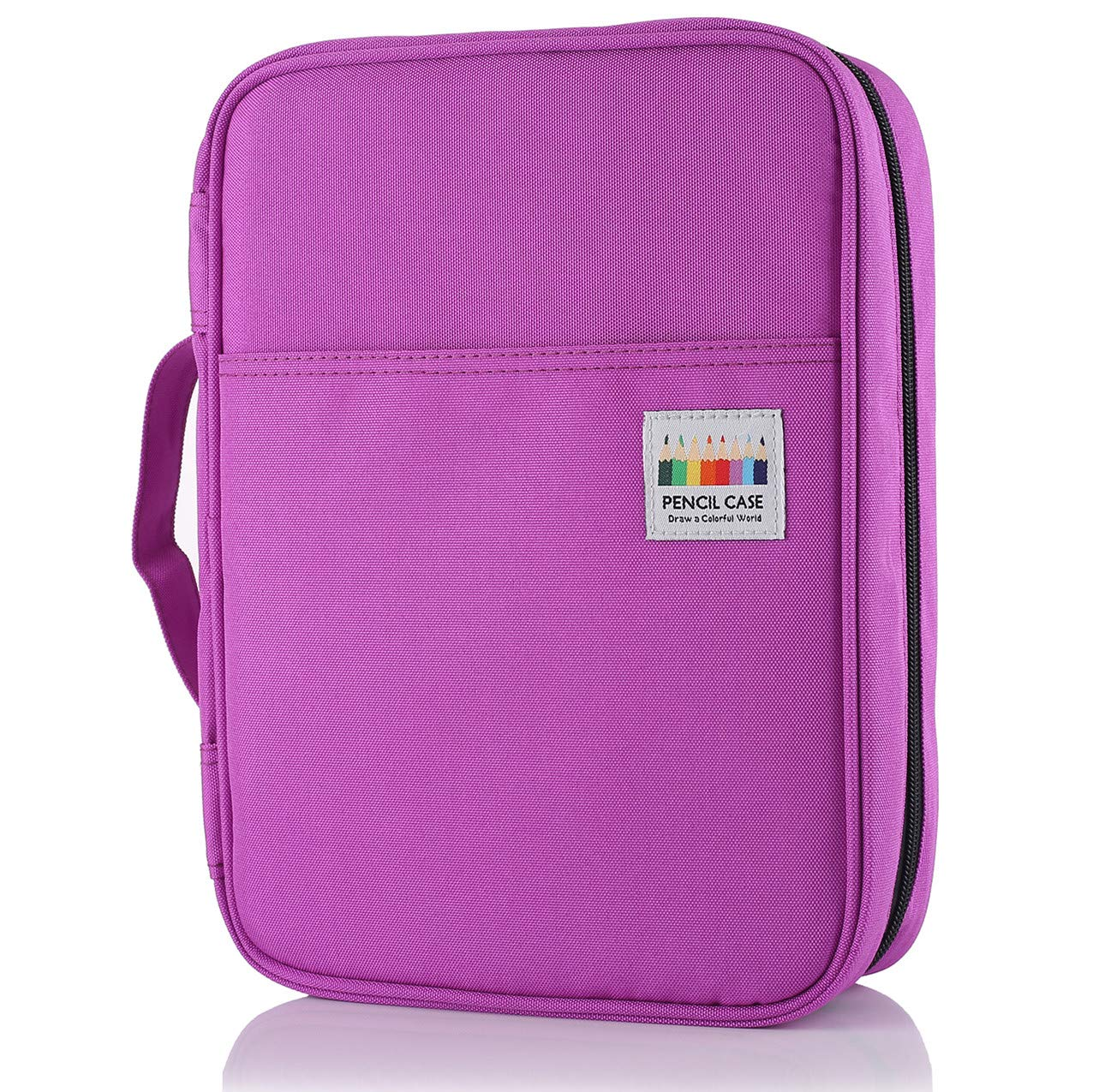 Shulaner Colored Pencil Case Slot Holds 220 Pencils or 144 Gel Pens with Zipper Closure Large Capacity Polyester Pen Organizer for Coloring Pencil Gel Pen Purple