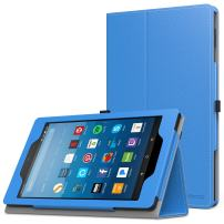 MoKo Case for All-New Amazon Fire HD 8 Tablet (7th/8th Generation, 2017/2018 Release) - Slim Folding Stand Cover for Fire HD 8, Blue (with Auto Wake/Sleep)