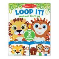 Melissa & Doug Loop It! Safari Puppets Beginner Craft Kit – Lion and Monkey Felt Hand Puppets, 40 Loops