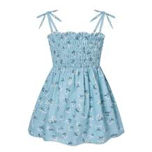 Toddler Kids Baby Girl Summer Dress Clothes Floral Ruffle Strap Dresses Backless Princess Sundress Playwear Outfits