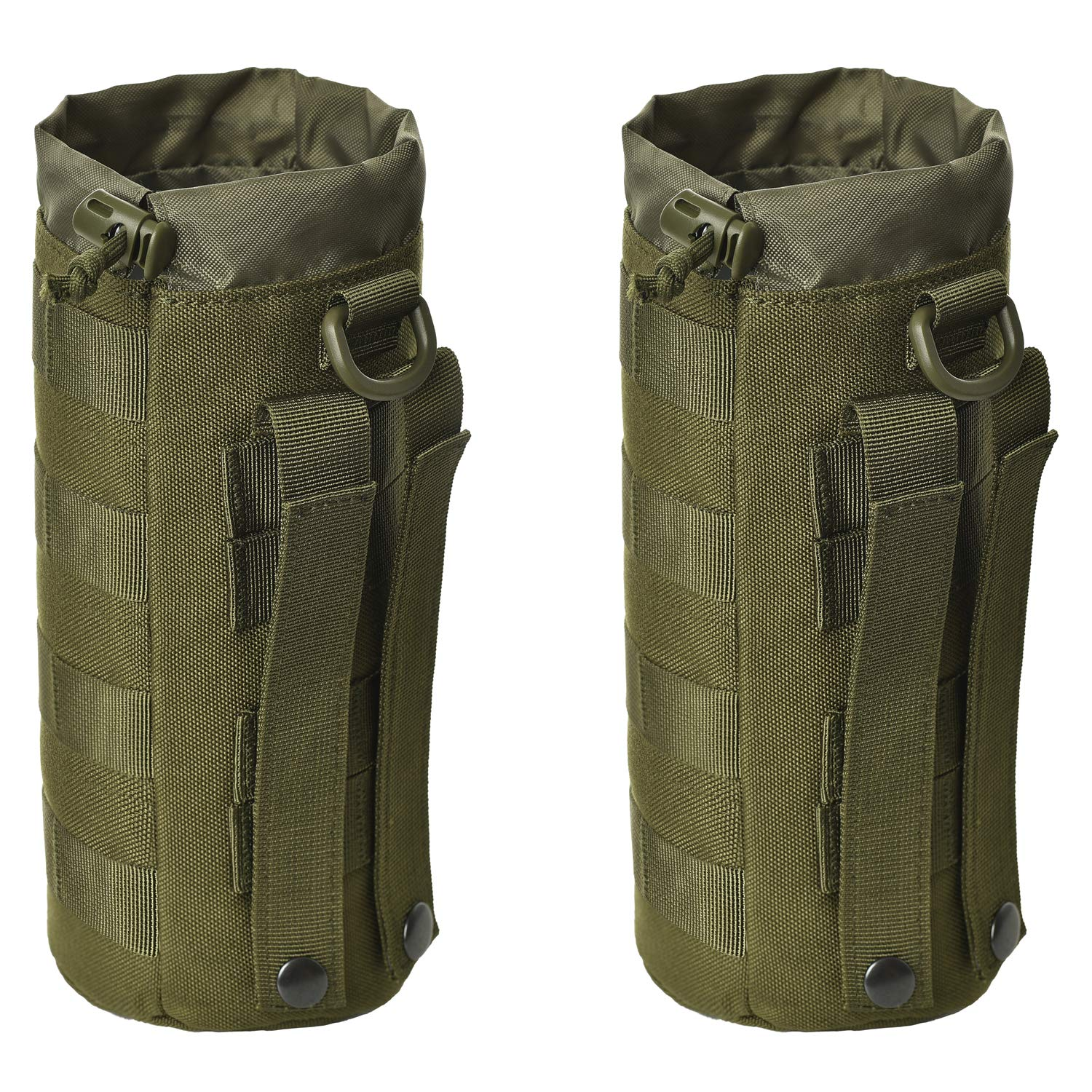 GZSAIPASI 2 Pack Water Bottles Pouch Bag Tactical Molle Water Bottle Pouch Military Drawstring Water Bottle Holder Water Bottle Carrier
