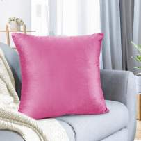 """Nestl Bedding Throw Pillow Cover 18"""" x 18"""" Soft Square Decorative Throw Pillow Covers Cozy Velvet Cushion Case for Sofa Couch Bedroom - Light Pink"""