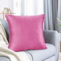 "Nestl Bedding Throw Pillow Cover 18"" x 18"" Soft Square Decorative Throw Pillow Covers Cozy Velvet Cushion Case for Sofa Couch Bedroom - Light Pink"