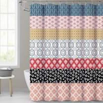 KGORGE Bathroom Boho Shower Curtains - Fabric Farmhouse Decor Geometric Waterproof Curtain for Master Bath Tub, 72x72 Inch with Install Rings