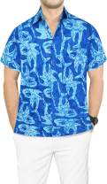 LA LEELA Men's Pool Button Down Short Sleeve Hawaiian Shirt A